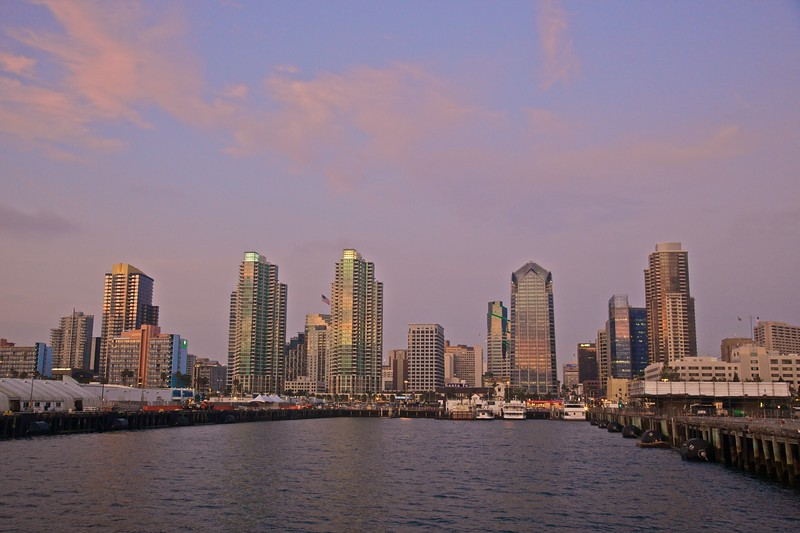 The city of San Diego at sunset, as seen from the Coronado ferry.