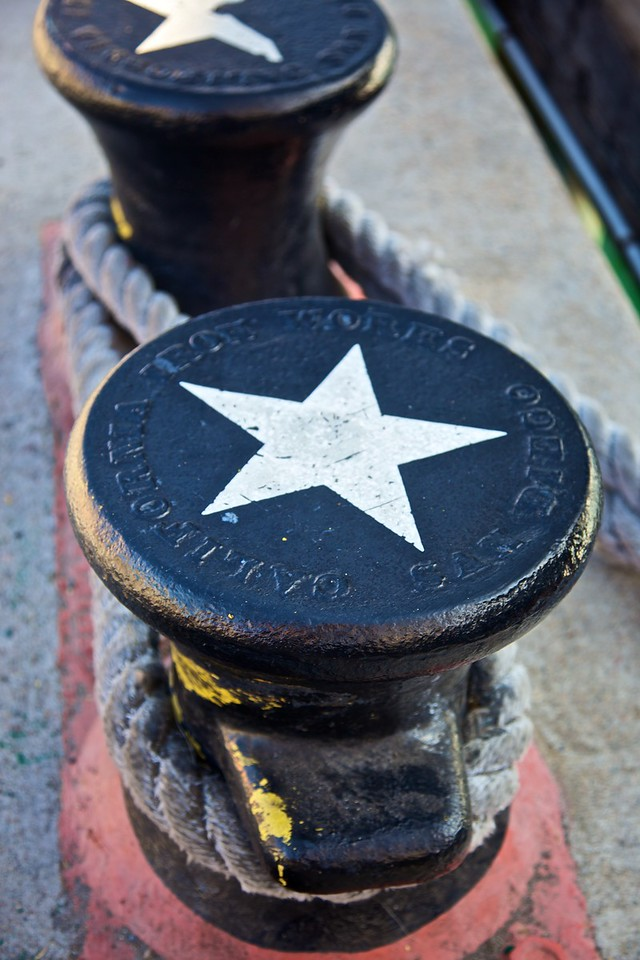 Mooring points on the San Diego quay. Embossed on the top is the legend 'San Diego Iron Works California'.