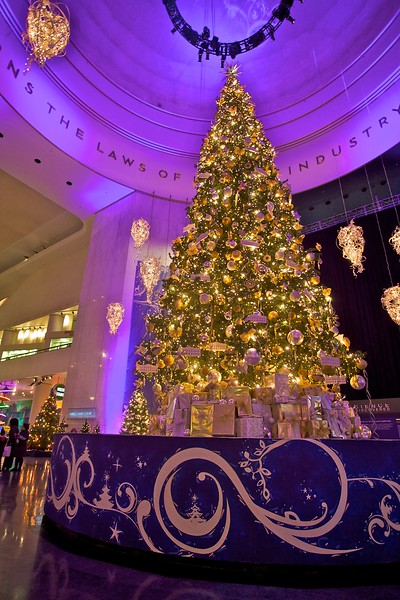 This enormous Christmas tree greeted visitors to the Museum of Science and Industry at the top of the main escalators to the exhibits. Little White House ornaments are hanging from the tree, because the museum had an 'Inside the White House' exhibition at the time.