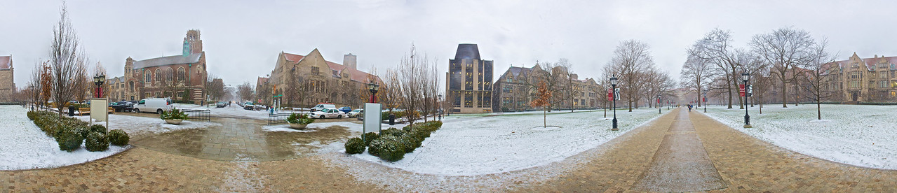 A 360º panoramic view of snow falling on the streets of the campus of the University of Chicago. (Ten-photo stitch.)