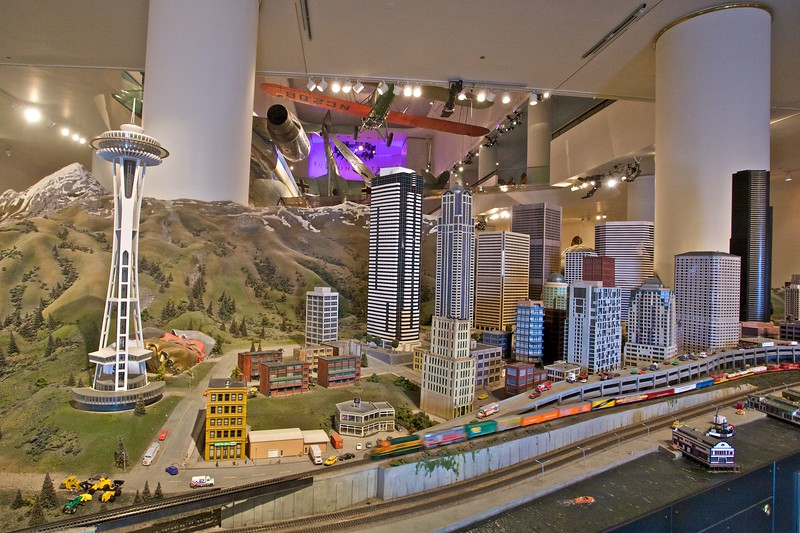 One end of the model railway at the Museum of Science and Industry. I don't think it is intended to be an accurate model of any town, city or location, even if the building on the left looks like the Space Needle in Seattle.
