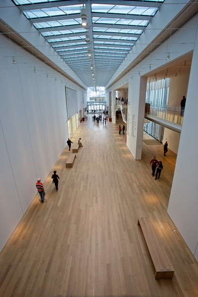 Gallery visitors in the Modern Wing of the Art Institute of Chicago, seven months after it opened (in May 2009).