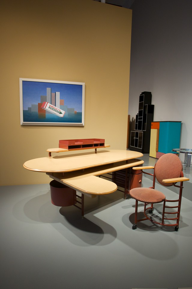 At the Art Insitute of Chicago: desk and chair by Frank Lloyd Wright (1867–1959) for the Johnson Wax Company of Racine, Wisconsin.
