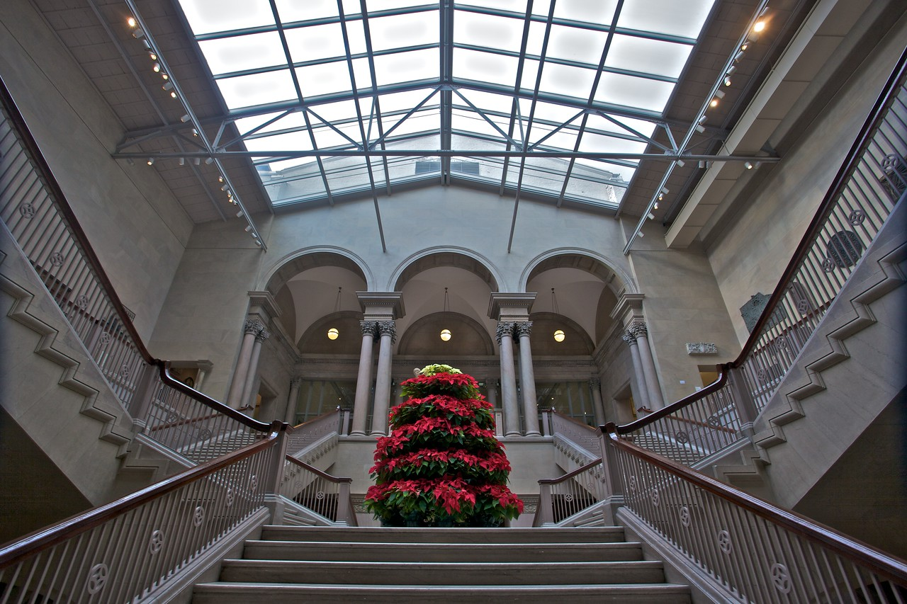The main staircase at the entrance of the Art Institute of Chicago, complete with an enormous display of poinsettias for Christmas.