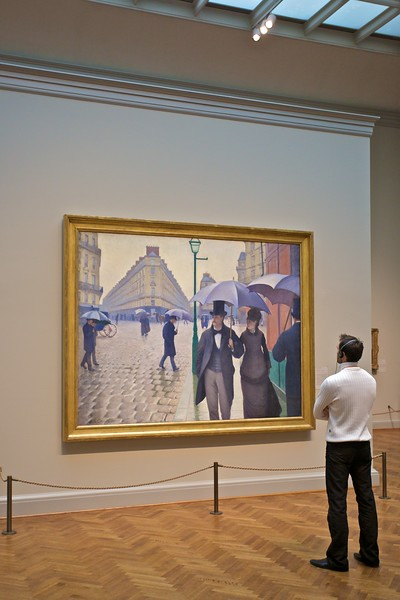 At the Art Institute of Chicago: Gustave Caillebotte's (1848–94) 'Paris Street; Rainy Day' (1877).