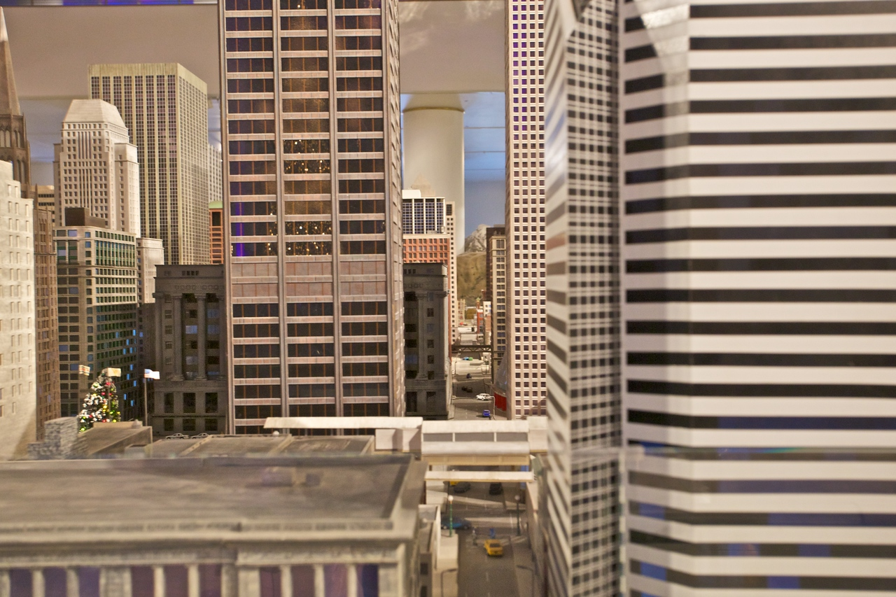 More buildings and a street in the enormous model railway at the Museum of Science and Industry.