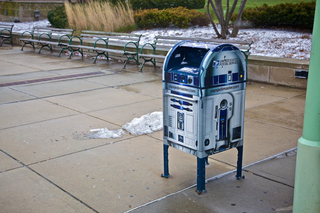 An R2D2 postbox outside the Museum of Science and Industry.