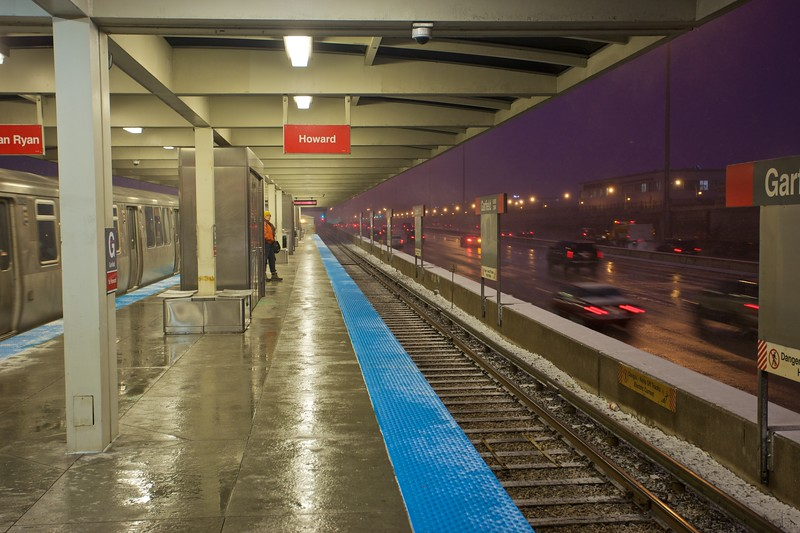 Waiting for the 'L'—the ELevated railway which serves Chicago.