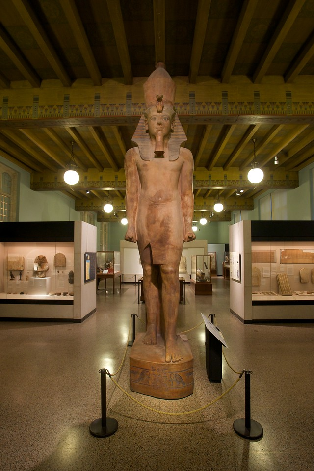 At the University of Chicago Oriental Institute's museum: a collossal statue of Tutankhamun. At 17 feet four inches tall, this is the tallest ancient Egyptian statue in the western hemisphere. It weighs about six tons.
