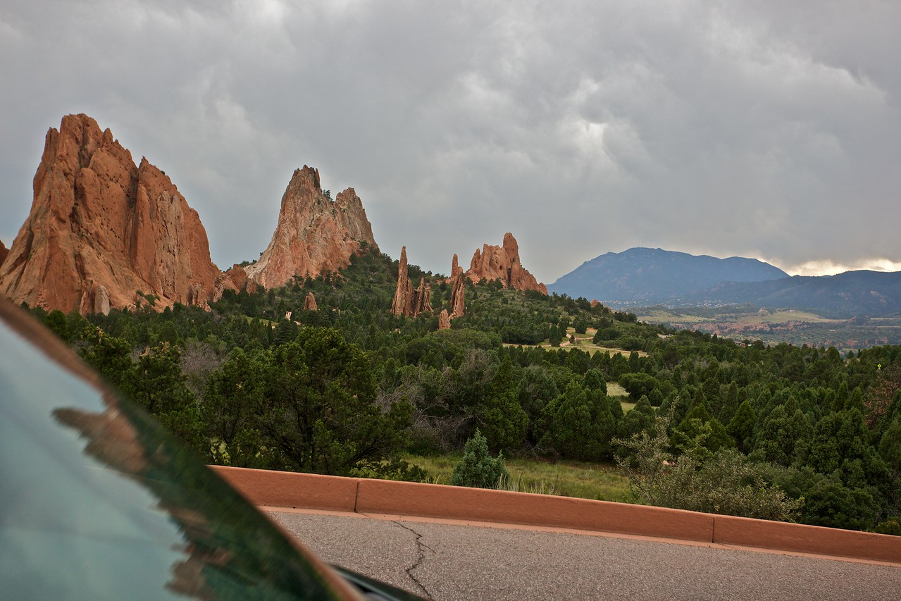 Looking at the Garden of the gods as we drive away.