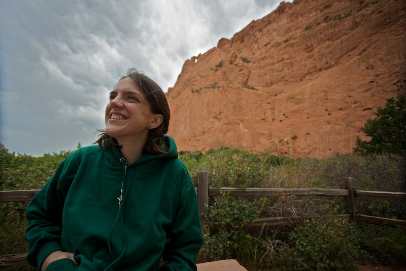 Elizabeth at the Garden of the gods. This is the soon-to-be-infamous (among Elizabeth and her community) $10 hoodie from Walgreens which she had bought that afternoon at Manitou Springs when we realized how cold a day it was turning out to be.