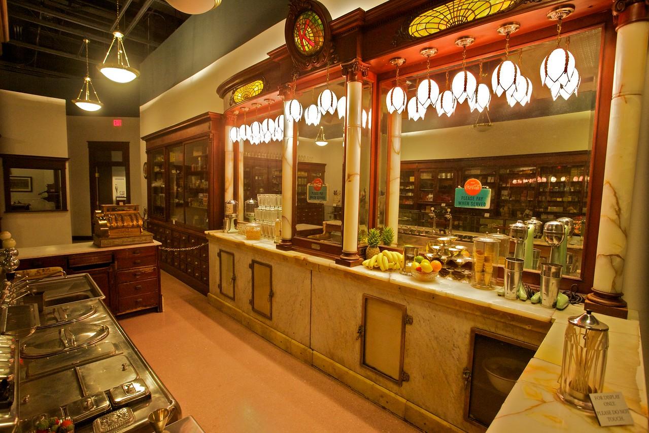 Replica drugstore/milk-bar in the North Carolina Museum of History in Raleigh.
