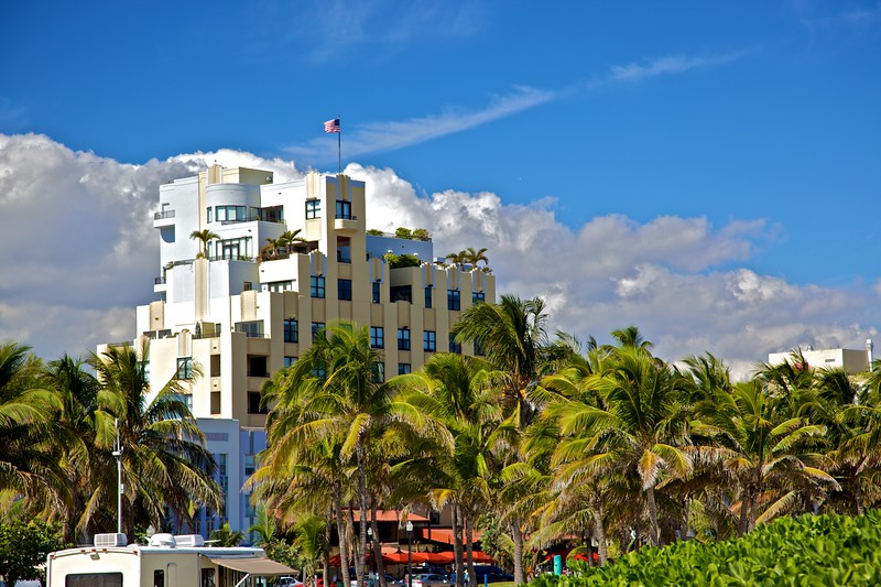 Some of the Art-Deco architecture for which the city of Miami Beach is famous.