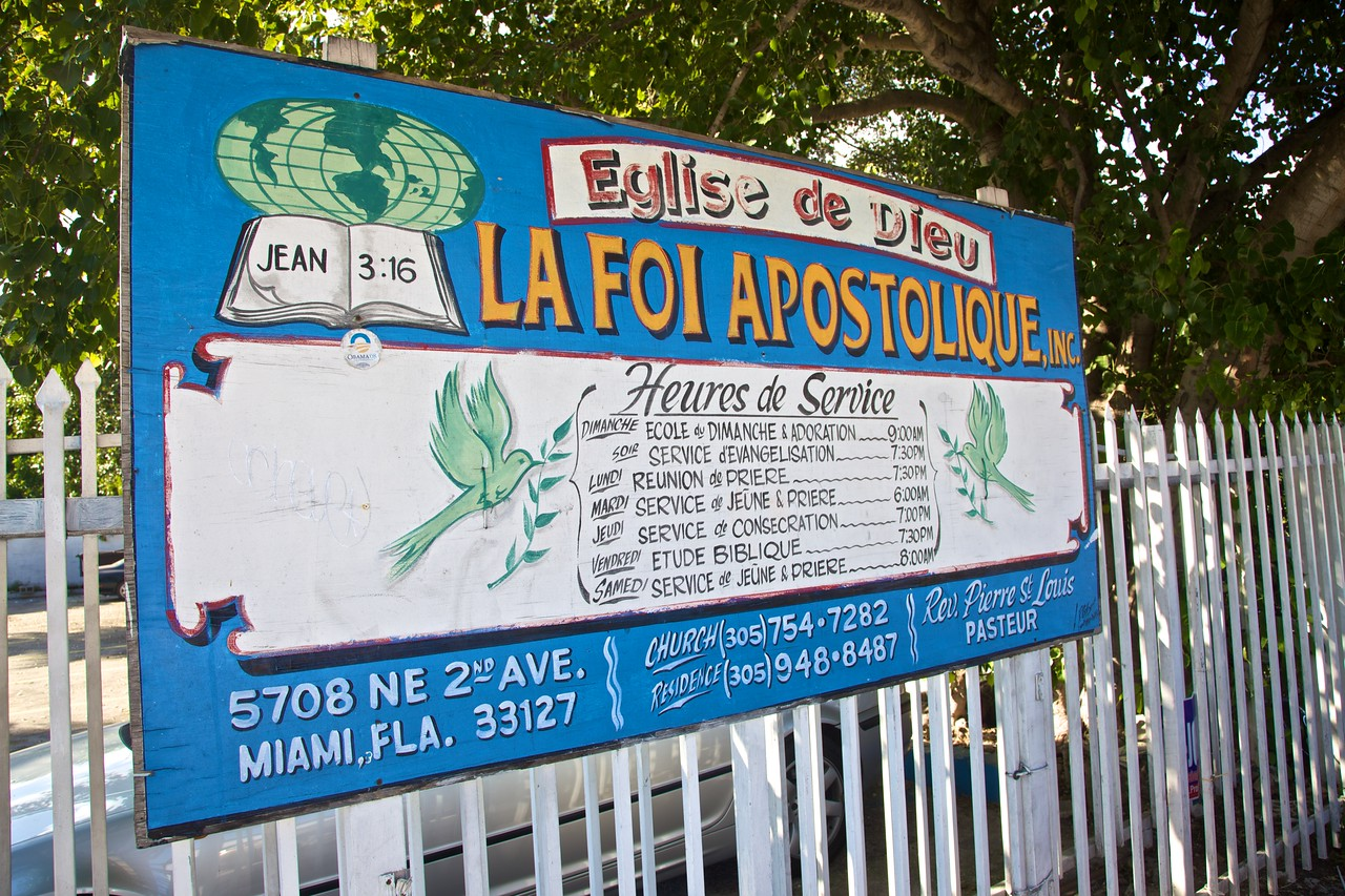Another hand-painted sign outside a Protestant church in Little Haiti in Miami, this time written exclusively in French with the exception of the words 'Church' and 'Residence'. I wonder what happens on Tuesday and Saturday mornings' 'Service de jeûne et prière' (fasting and prayer service—how can you have a 'service'of fasting?!). It's interesting to note that they have included the circumflex over the capital 'U' in 'jeûne' and left out the grave accent in 'prière': the circumflex is necessary to avoid misinterpretation of the word as meaning something to do with 'youth'.