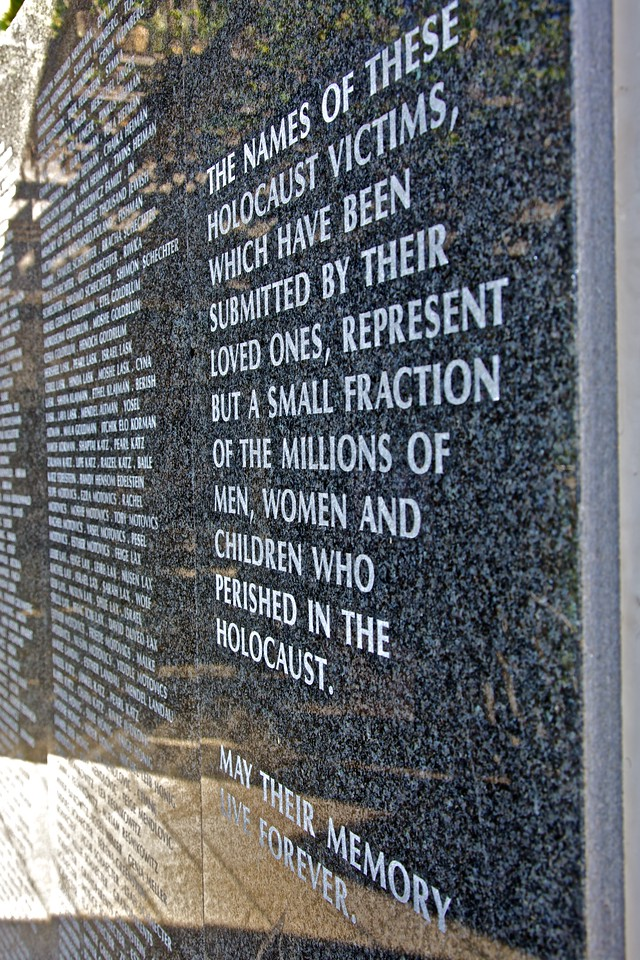 The inscription next to the names carved around the inner wall of the Holocaust Memorial on Miami Beach.