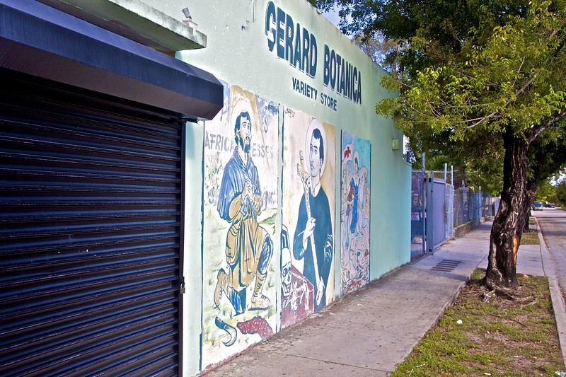 Saints painted on the wall of a shop in Little Haiti in Miami.