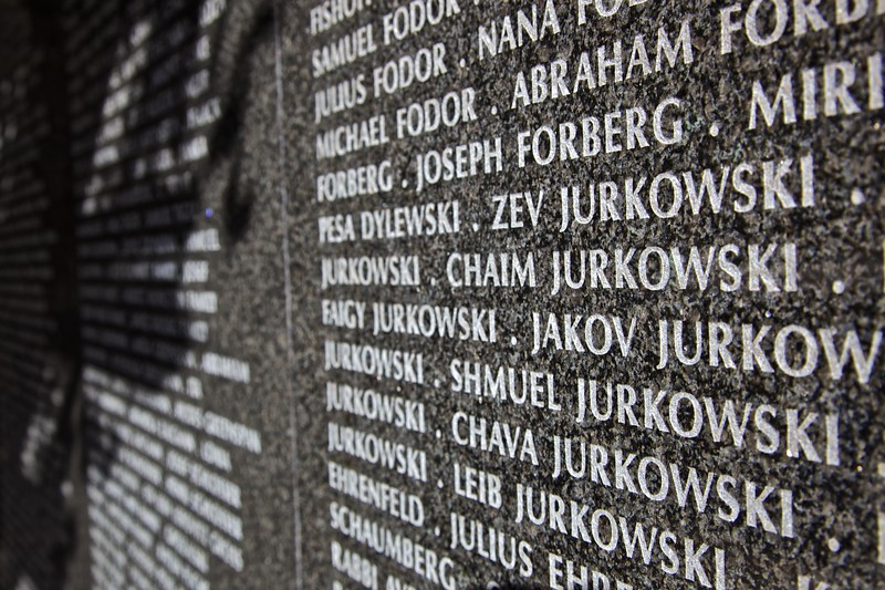 Names carved around the inner wall of the Holocaust Memorial on Miami Beach.