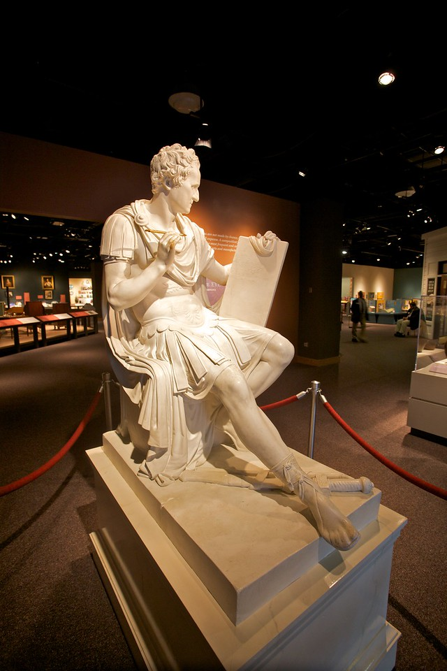 Statue of George Washington (1910) in the guise of a Roman commander by F.W. Ruckstuhl in the North Carolina Museum of History. This is in fact a plaster cast of the original statue.