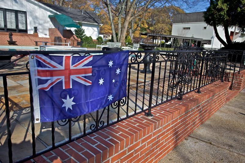 A flag near Elvis' grave, sent by an Australian fan.