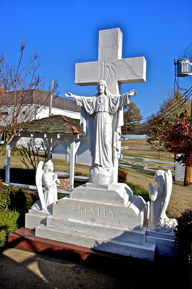 I think that this memorial stood over the original grave-site of Elvis and his mother at Forest Hill cemetery. Their remains were moved to the Meditation Garden at Graceland after a failed attempt by grave-robbers to disinter the King.