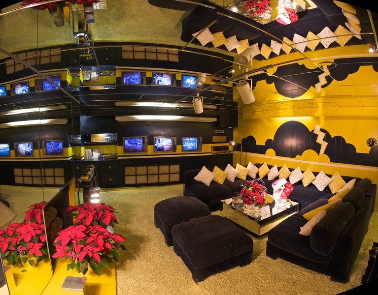 "The TV Room in the basement of the Graceland mansion. Why have one TV when you can have three?  Six photos stitched together: I shot the series partly to see how my <a href=""https://www.ptgui.com/"" title=""Photo stitching software 360 degree Panorama image software - PTGui"">panorama software</a> would cope with the mirrored ceiling. It coped rather well, as it turned out."
