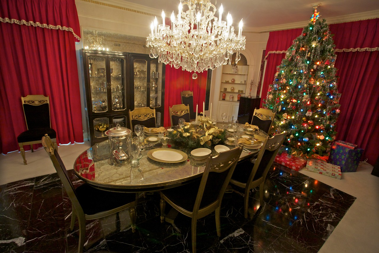 The dining room, and with it Christmas tree number two.