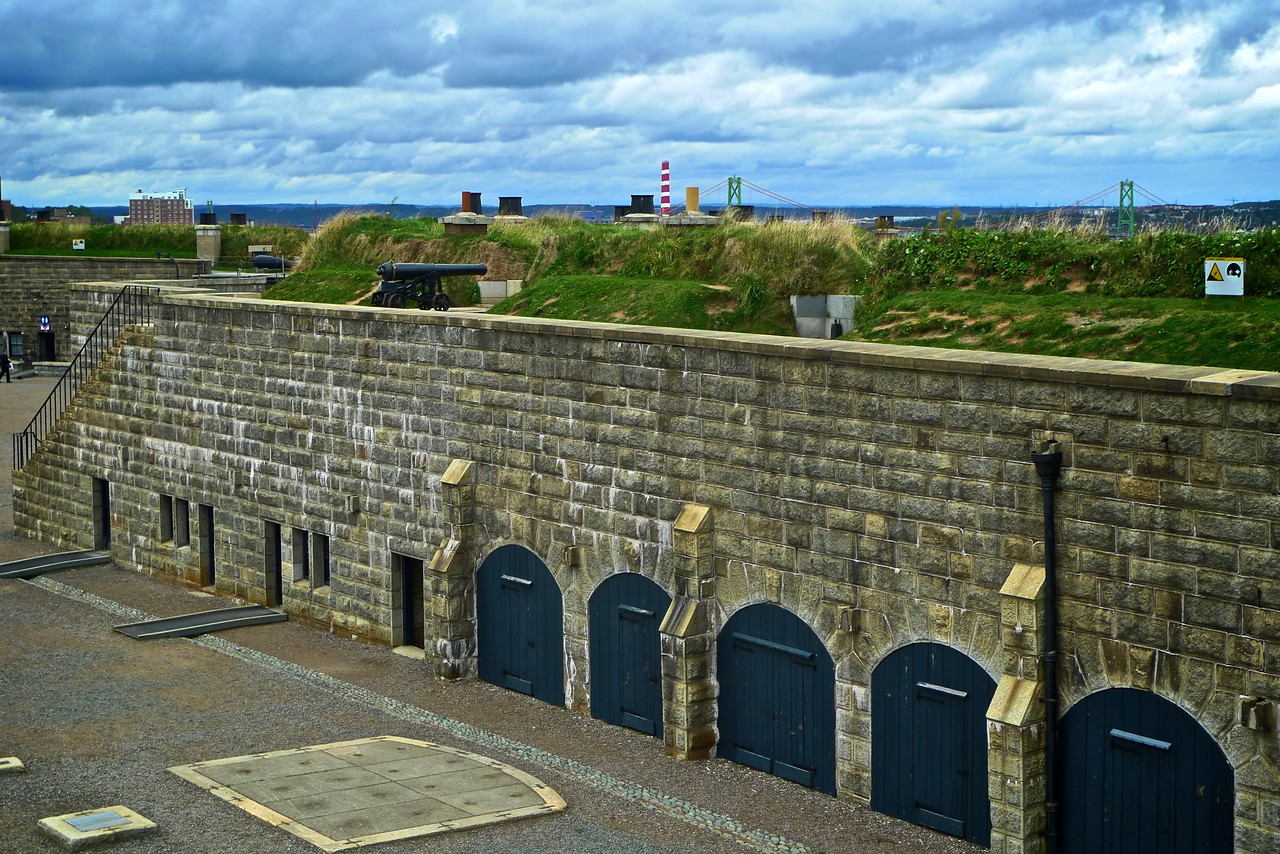 The Halifax Citadel. The bridge in the distance is the Angus L. Macdonald Bridge, which connects Halifax to the neighbouring town of Dartmouth, which is across the harbour.