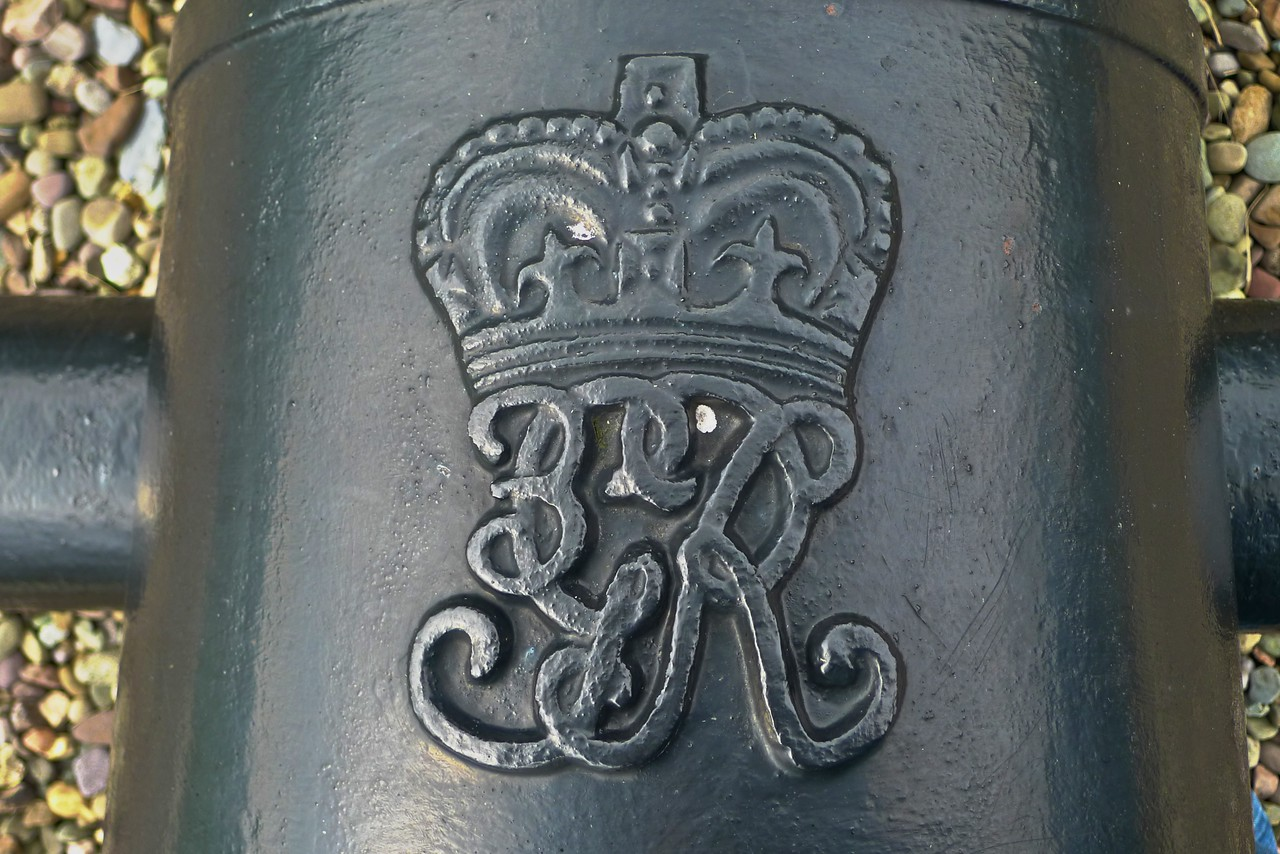The insignia of George III on a canon at the Halifax Citadel.