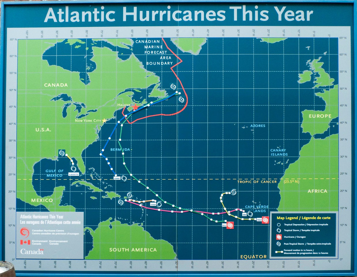 This year's Atlantic Hurricanes: a display inside the entrance to the Maritime Museum of the Atlantic, in Halifax.