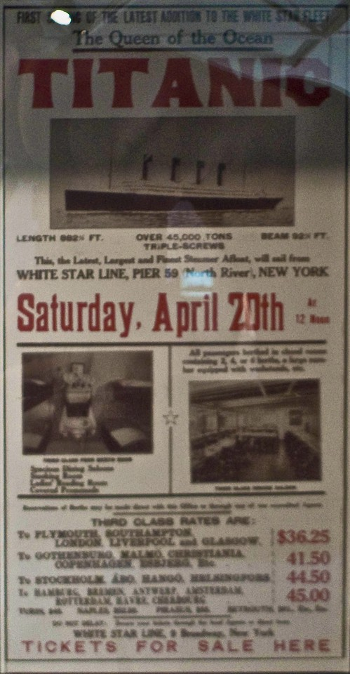 A facsimile of a poster in the Maritime Museum of the Atlantic for the never-to-take-place return voyage of the <em>Titanic</em> from New York back to Southampton. The ship famously sank on her maiden voyage east of Nova Scotia.