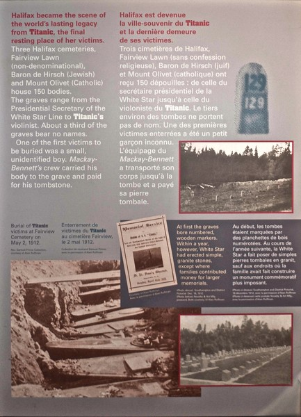 Details in the Maritime Museum of the Atlantic of the 150 victims of the wreck of the <em>Titanic</em> buried in three cemeteries in Halifax.