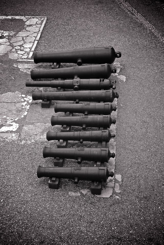Canons lined up at the Halifax Citadel.