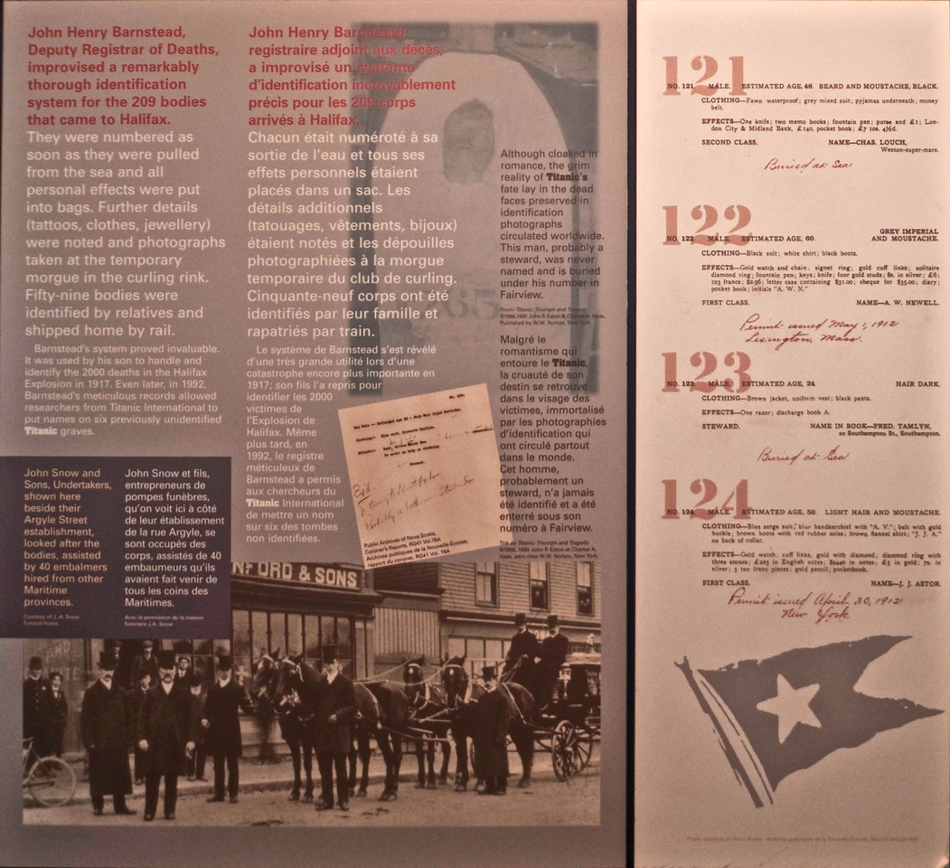 Details in the Maritime Museum of the Atlantic of the painstaking work which the Deputy Registrar of Deaths undertook in identifying the 209 bodies brought back to Halifax from the site of the <em>Titanic</em>'s wreck.
