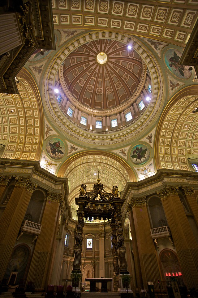 The sanctuary and dome of the Cathédrale Marie-Reine-du-Monde in Montreal.