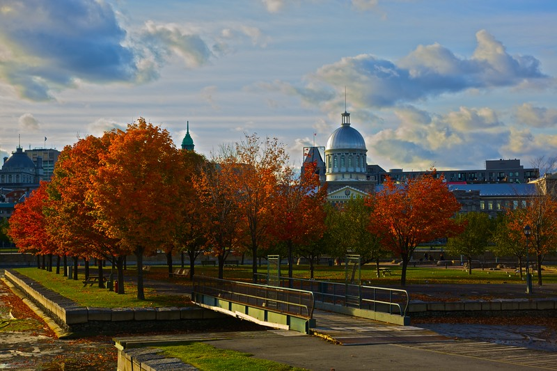 Looking towards the Bonsecours Market in Montreal.