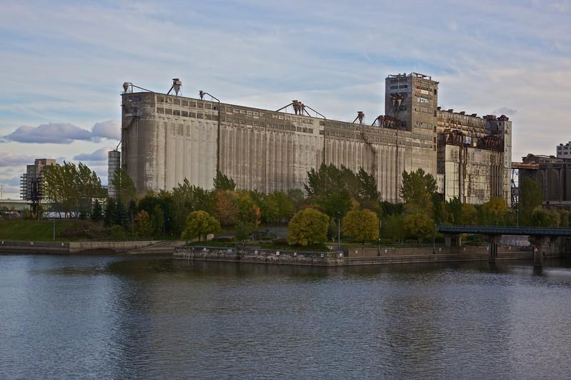 Grain elevators in the Vieux Port in Montreal.