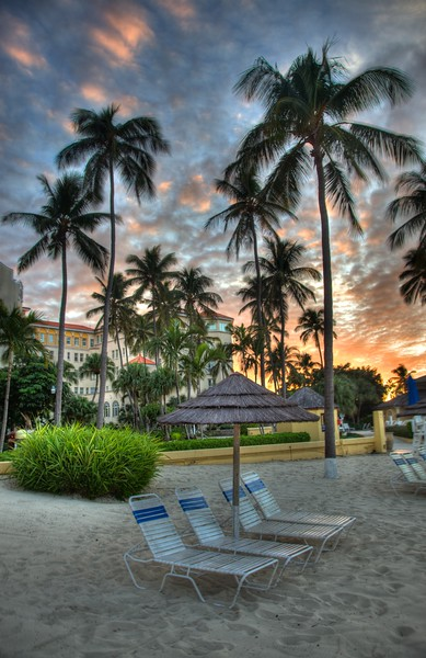 Sunset on the beach of the Hilton British Colonial hotel in Nassau. I think this is one of the most striking HDR images I've produced.