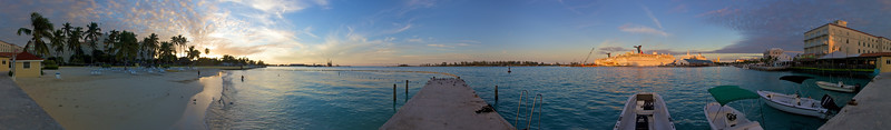 Panoramic view from the north side of New Providence island at sunset.