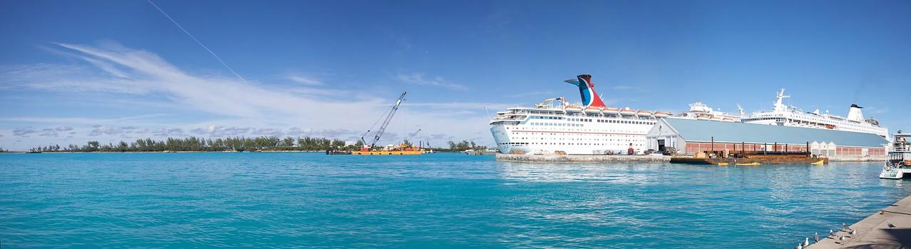 Cruise vessels at Nassau.