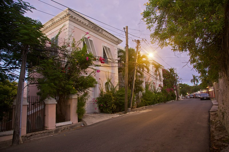 Another residential street in Nassau at dusk.