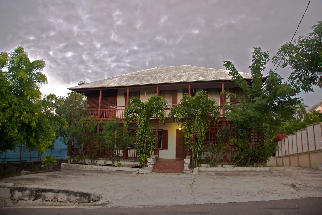 A house in Nassau after sunset.