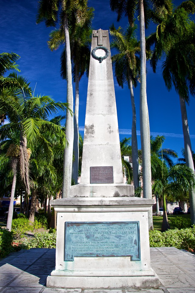 """A Bahamian War Memorial in Parliament Square, Nassau, commemorating 'the sons of this colony who made the supreme sacrifice in the great war.'<br /> <br /> It goes on to read (with eccentric punctuation):<br /> """"Bahamians: Let this of you be said<br /> 'That you who live are worthy of your dead'.<br /> These gave their lives that you who live, may reap<br /> A richer harvest ere you fall asleep."""""""