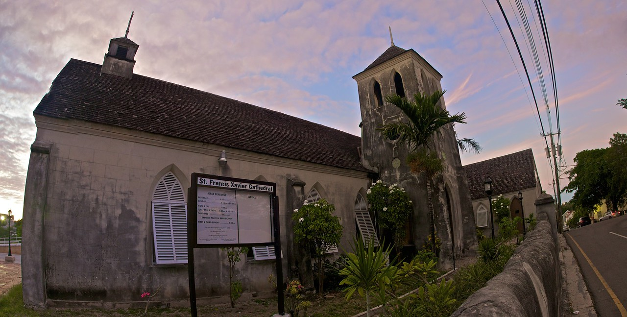 St Francis Xavier Cathedral in Nassau. Six photos stitched together.