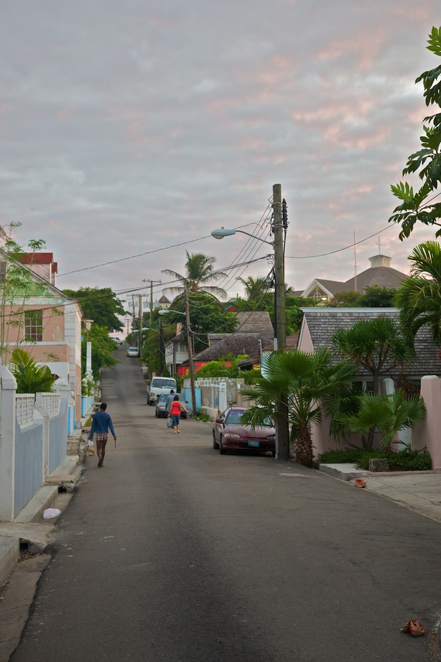 A residential street in Nassau after sunset. This is still in the 'seemly' part of town. Without moving much further south you come into much more 'seedy' places.
