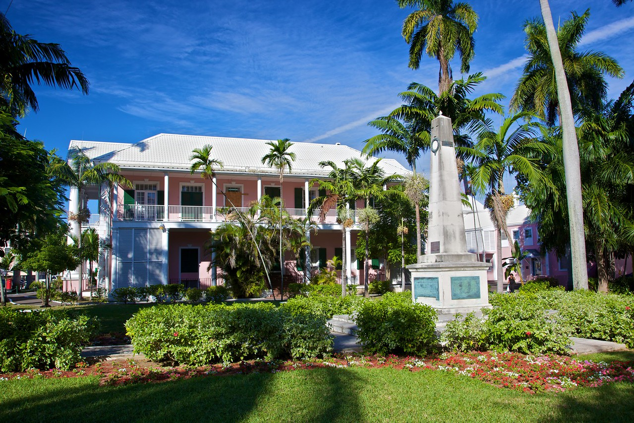 A government building in Nassau's Parliament Square, next to a Bahamian War Memorial.
