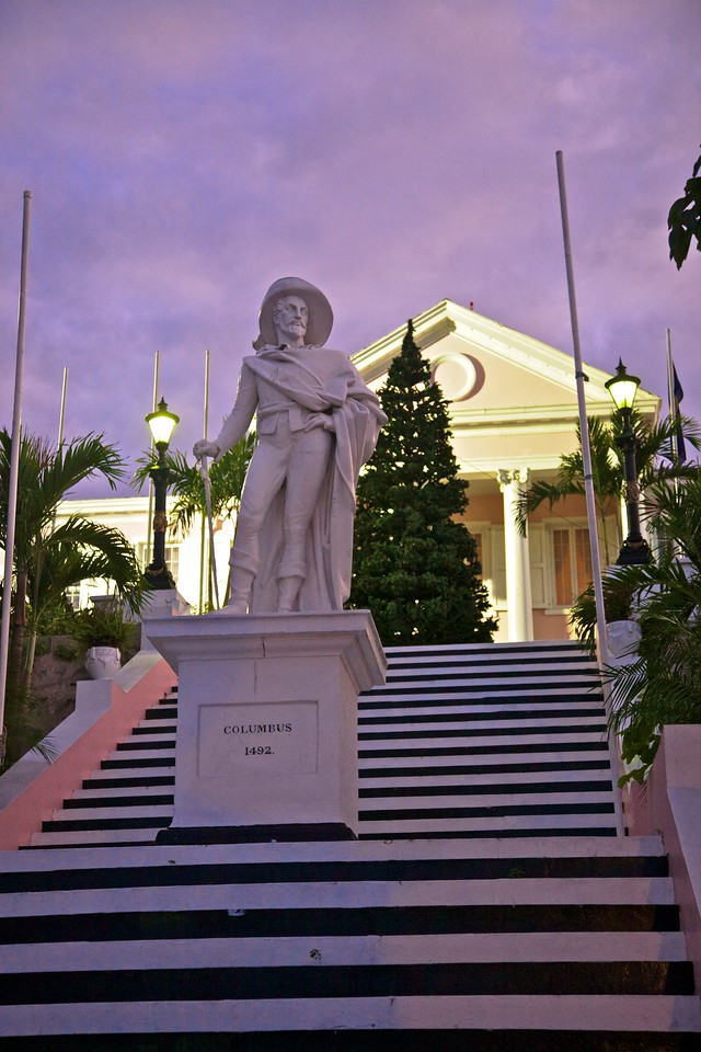 This statue of Columbus stands on the steps of the Bahamian Parliament building.