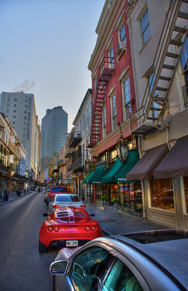 Cars and buildings in Royal Street in the French Quarter of New Orleans.