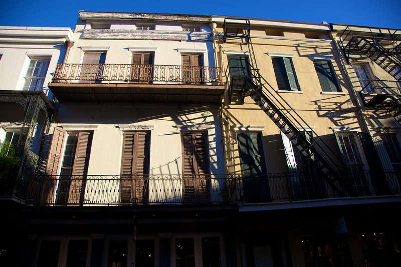 An apartment building in the French Quarter in New Orleans.