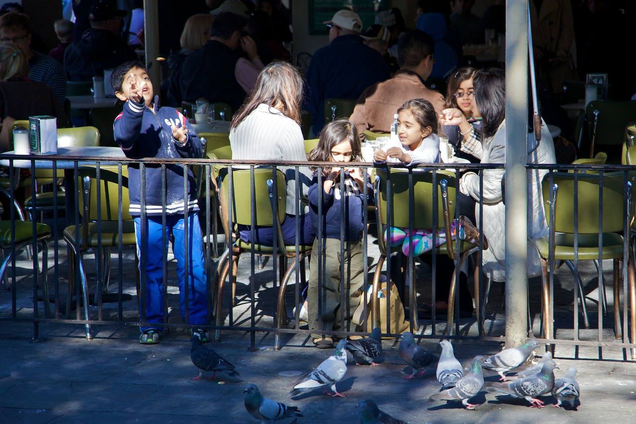 A family at the Café du Monde on Thanksgiving Day, 2009.