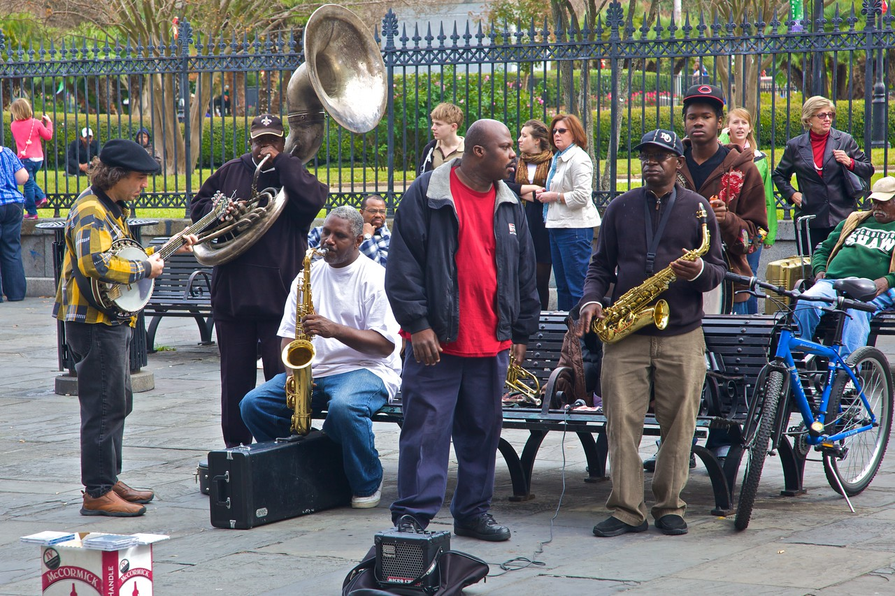 This band performing in Jackson Square had a sizeable audience.